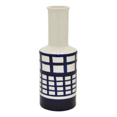 11.75 in. Blue and White Porcelain Vase