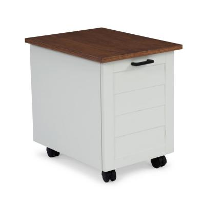 Portsmouth White and Oak Mobile File Cabinet