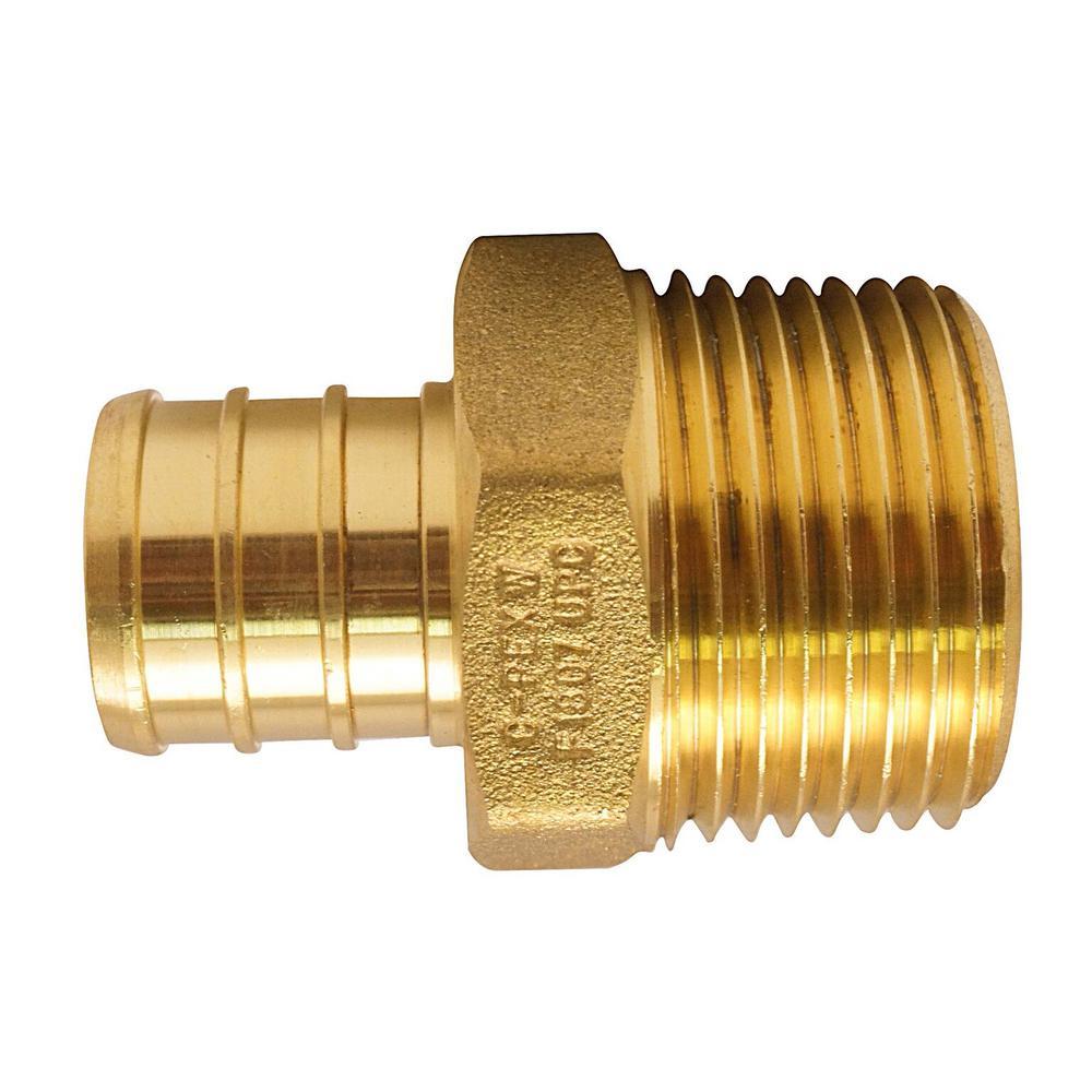 "3//4/"" PEX x 3//4/"" Male NPT Threaded Adapter Brass Crimp Fitting"