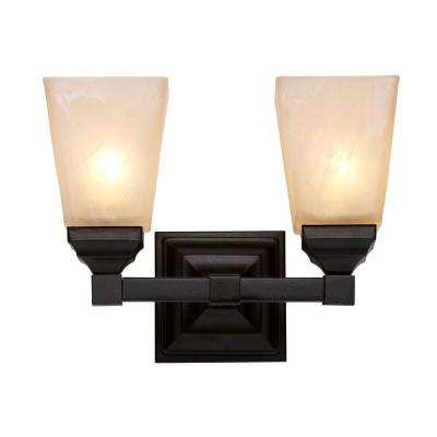 Hanna 2-Light Black Bath Light with Marbleized Shades