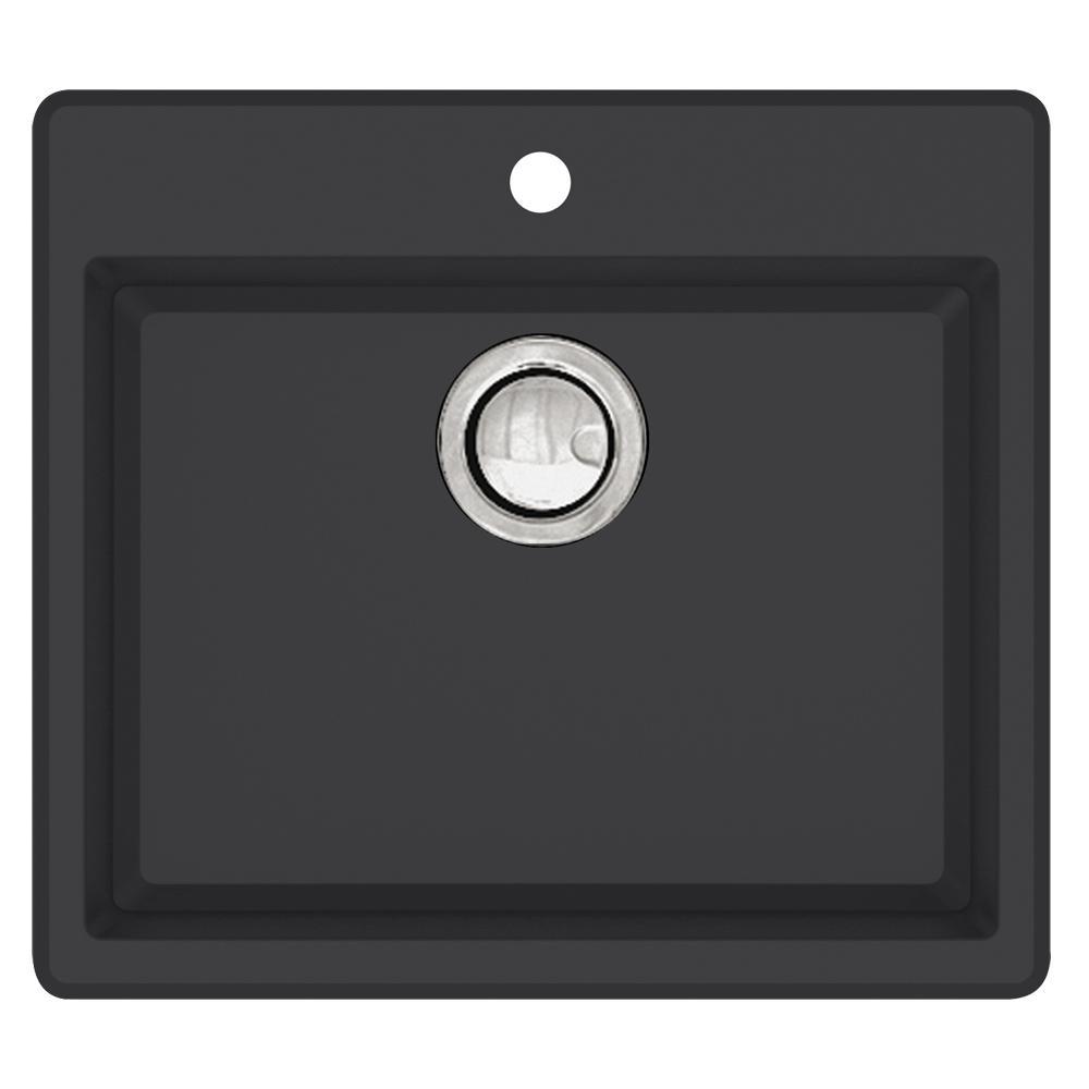 Quantum Drop-in Granite 22 in. 1-Hole Single Bowl Kitchen Sink in Black