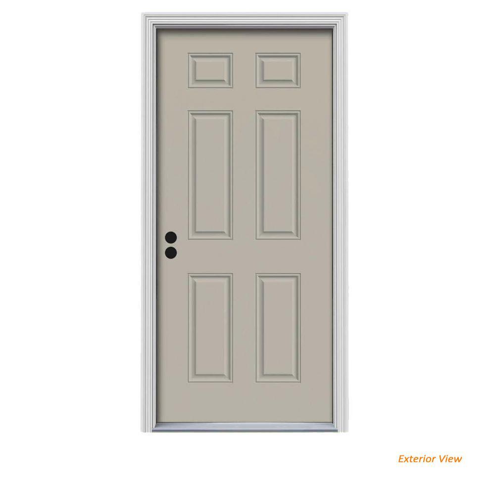 32 in. x 80 in. 6-Panel Desert Sand Painted Steel Prehung Right-Hand Inswing Front Door w/Brickmould