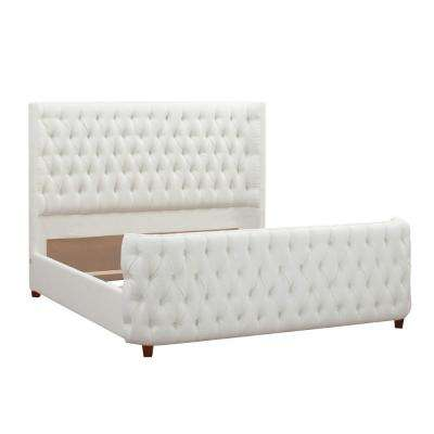 Antique White King Brooklyn Tufted Headboard Bed