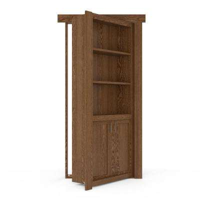 32 in. x 80 in. Flush Mount Assembled Laundry Door Oak Medium Stained Right-Hand Outswing