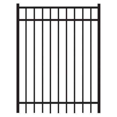 Natural Reflections Heavy-Duty 4 ft. x 5 ft. Black Aluminum Straight Pre-Assembled Fence Gate