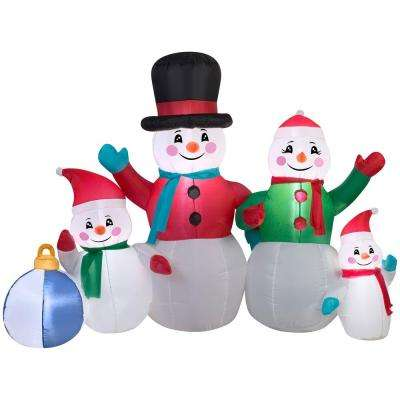5 ft inflatable snowman family scene