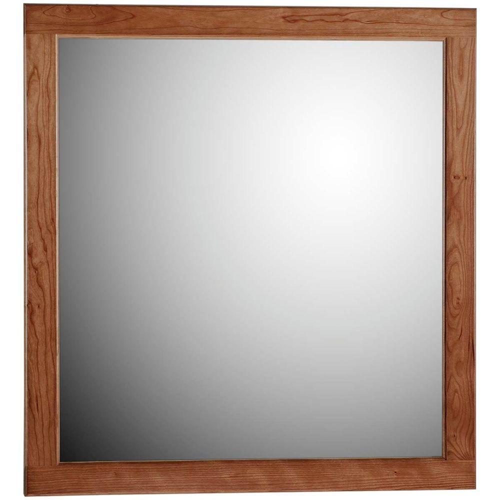 Ultraline 30 in. W x .75 in. D x 32 in. H Framed Wall Mirror in Medium Alder