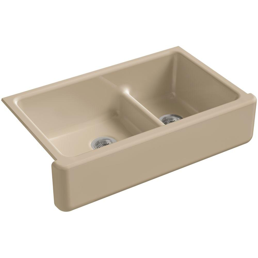 kohler whitehaven smart divide undermount farmhouse apron-front