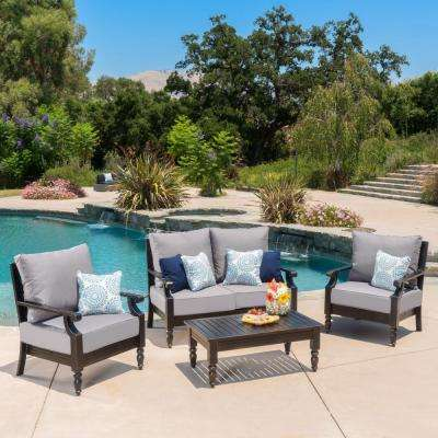 4-Piece Metal Patio Conversation Set with Gray Cushions