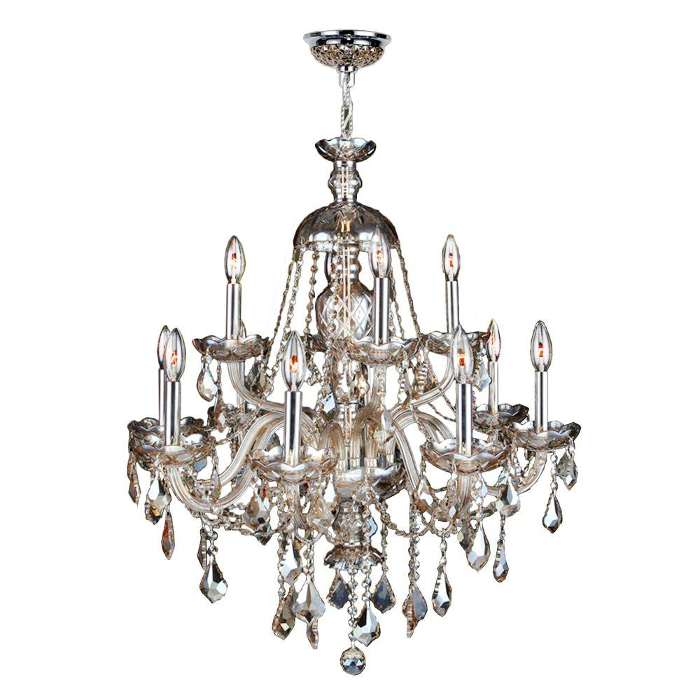 Provence Collection 12-Light Polished Chrome and Golden Teak Crystal Chandelier