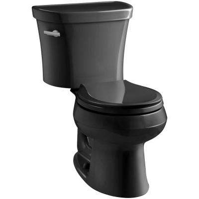 Wellworth 14 in. Rough-In 2-piece 1.28 GPF Single Flush Round Toilet in Black Black