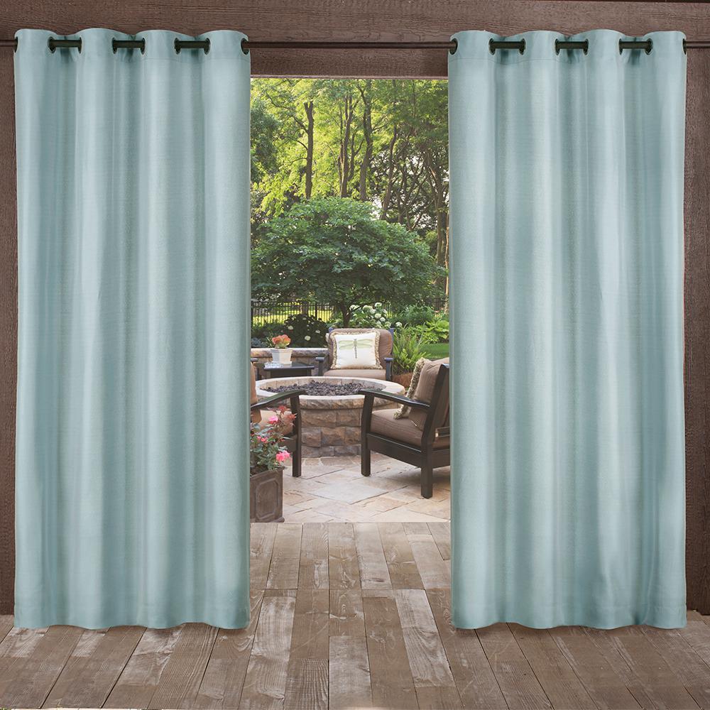 Biscayne 54 in. W x 108 in. L Indoor Outdoor Grommet Top Curtain Panel in Pool Blue (2 Panels)
