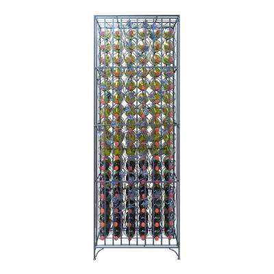 90-Bottle Black Floor Wine Rack