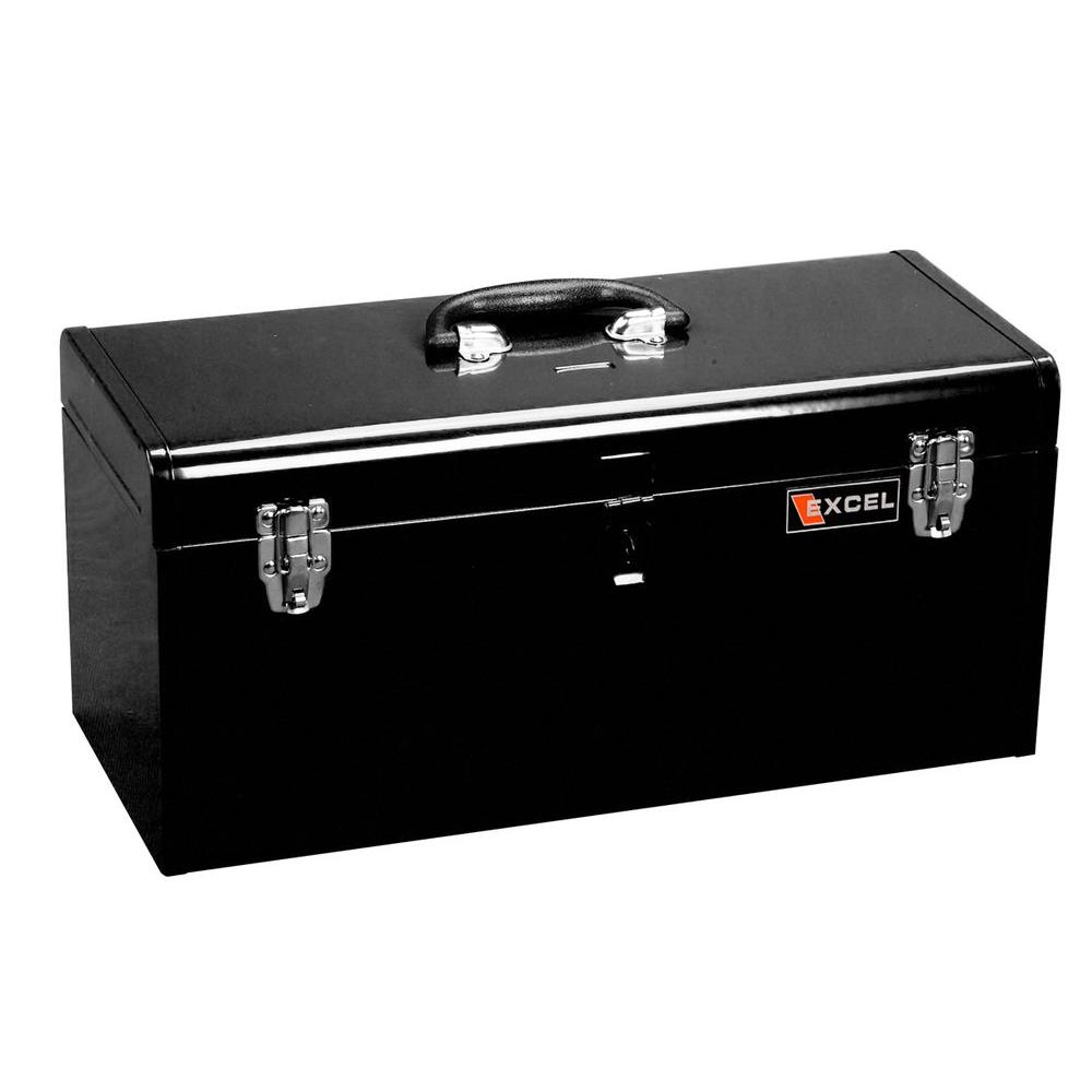 Excel 20 in. W x 8.6 in. D x 9.6 in. H Portable Steel Tool Box with Steel Tray, Black