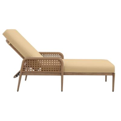 Coral Vista Brown Wicker Outdoor Patio Chaise Lounge with Sunbrella Beige Tan Cushions