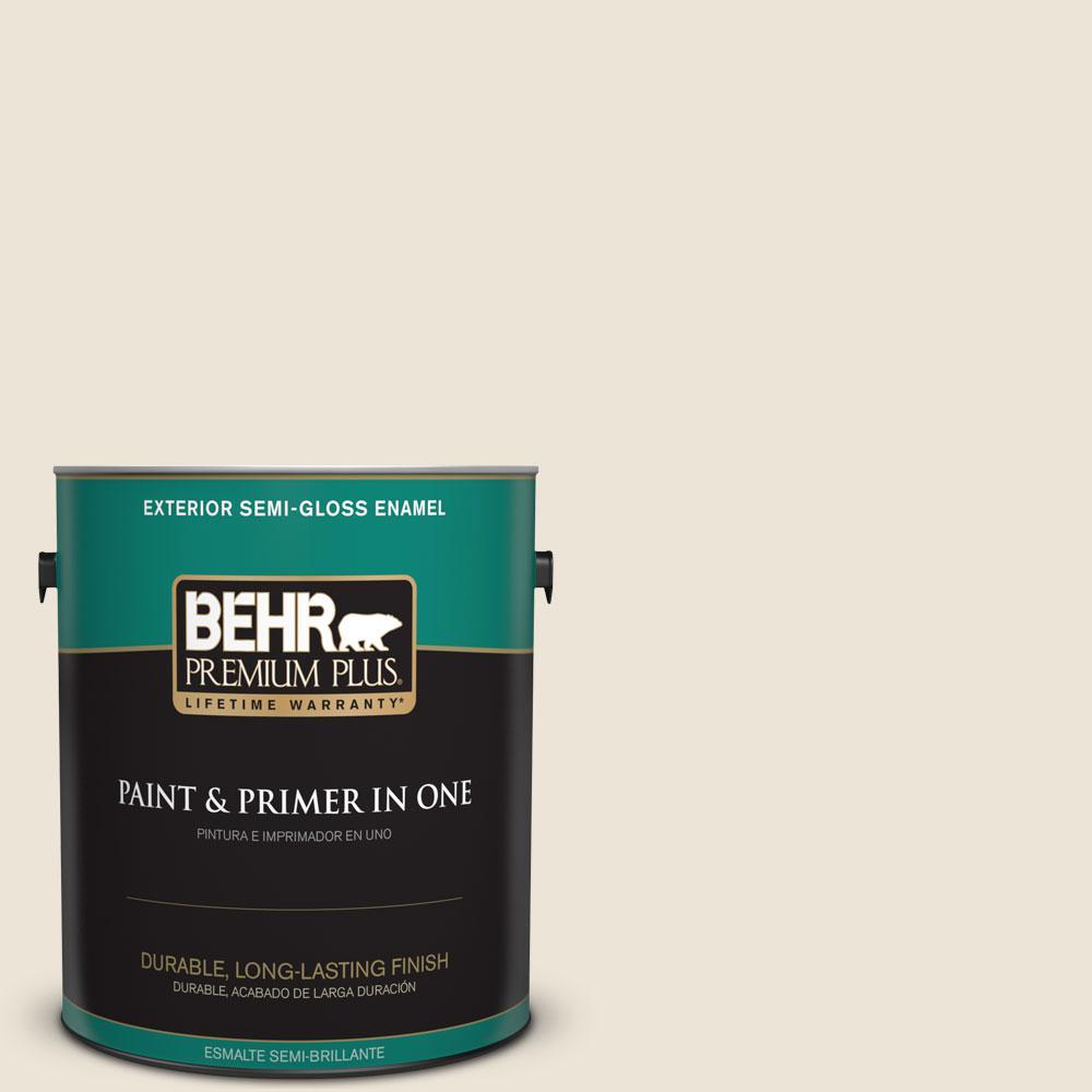 BEHR Premium Plus 1-gal. #PPL-67 Quarried Limestone Semi-Gloss Enamel Exterior Paint