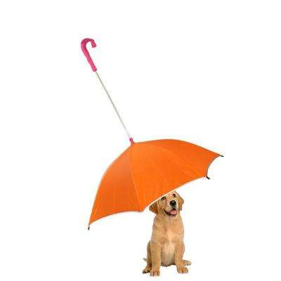 Pour-Protection Umbrella with Reflective Lining and Leash Holder in Orange