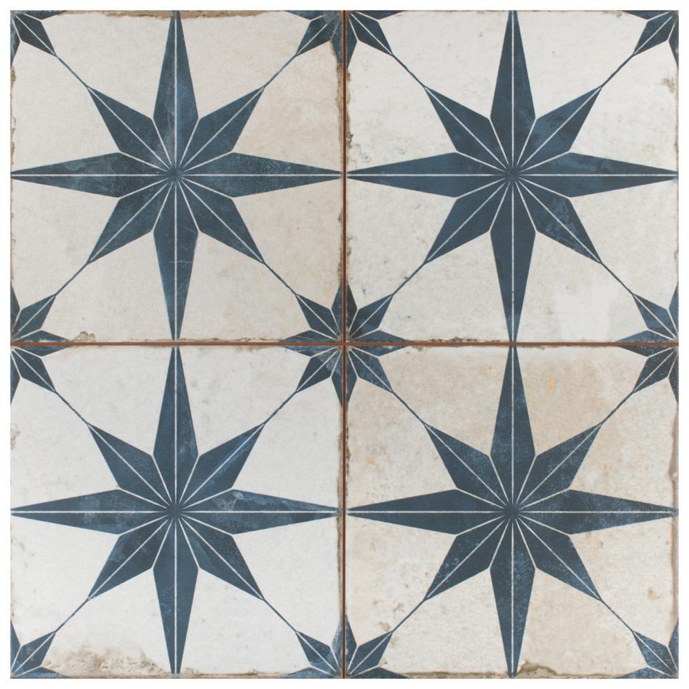 Kings Star Blue 17-5/8 in. x17-5/8 in. Ceramic F/W Tile