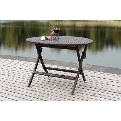 Ellis 40.9 in. Brown Rattan Round Folding Patio Dining Table