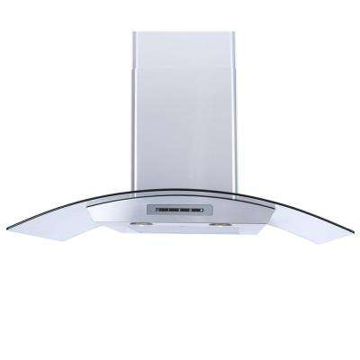 36 in. Wall Mount Range Hood in Stainless Steel with Tempered Glass Canopy