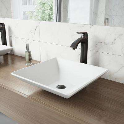 Hibiscus Matte Stone Vessel Sink and Linus Bathroom Vessel Faucet in Antique Rubbed Bronze w/ Pop up