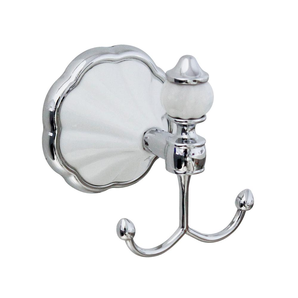 MODONA FLORA Double Robe and Towel Hook in White Porcelain and Polished Chrome