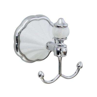 FLORA Double Robe and Towel Hook in White Porcelain and Polished Chrome
