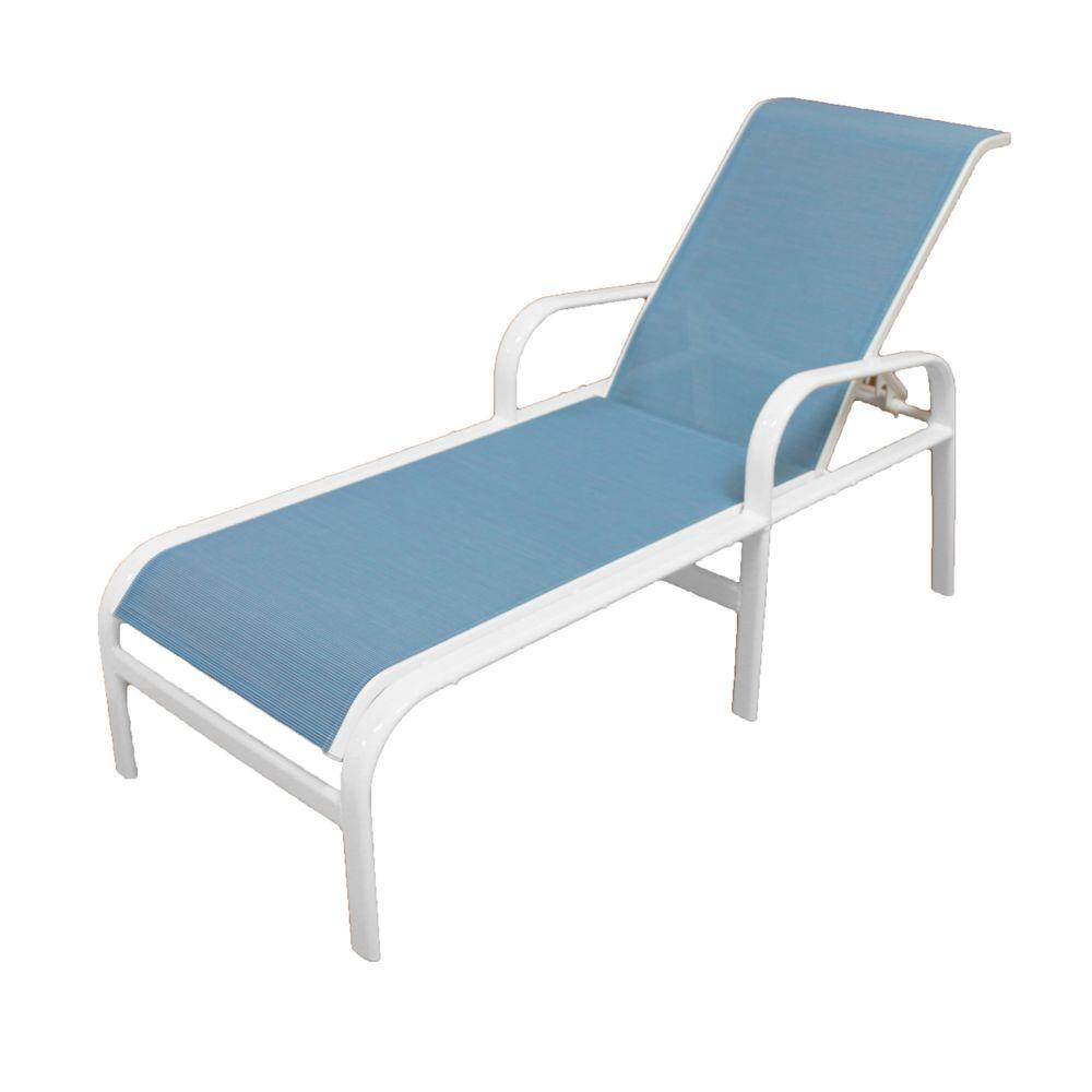 Marco island white commercial grade aluminum sling outdoor for Aluminum frame chaise lounge