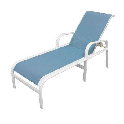 Captivating Marco Island White Commercial Grade Aluminum Sling Outdoor Chaise Lounge ...