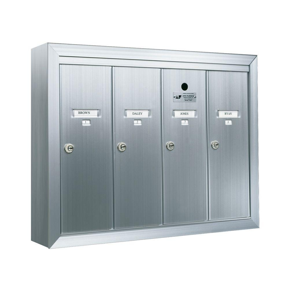 Florence 1250 Vertical Series 4-Compartment Aluminum Surface-Mount Mailbox
