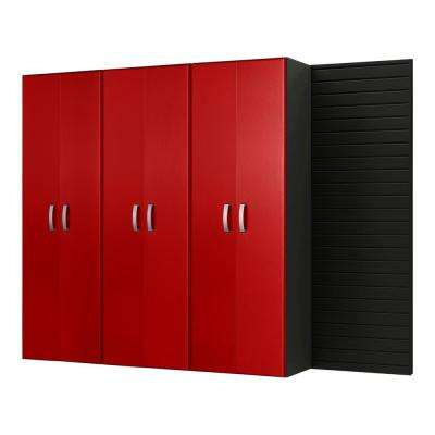 Tall 72 in. H x 96 in. W x 17 in. D Wall Mounted Garage Cabinet Set in Black/Red Carbon Fiber (3 Piece)