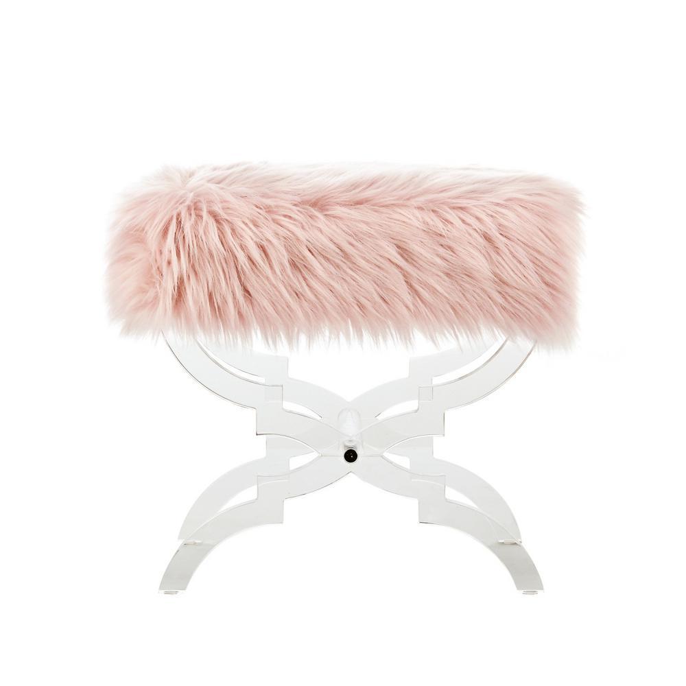 Sensational Inspired Home Reida Rose Acrylic X Leg Faux Fur Ottoman On38 Alphanode Cool Chair Designs And Ideas Alphanodeonline
