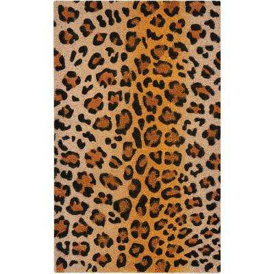 Leopard with Glitter Beige/Black 2 ft. x 3 ft. Area Rug