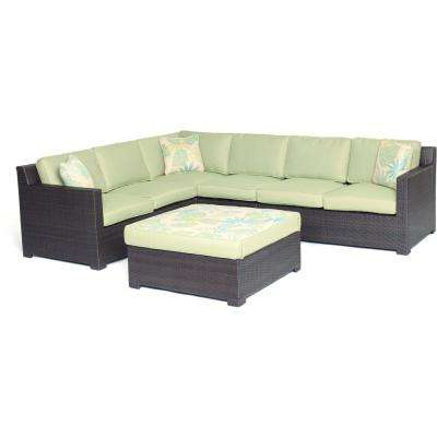 Sahara 5-Piece Wicker Outdoor Conversation Set with Green Cushions
