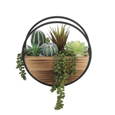 11 in. Round Wood and Metal Wall Faux Succulents Mix