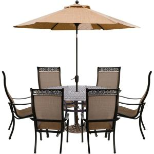 Manor 7 Piece Aluminum Outdoor Dining Set With 6 Chairs Cast Top