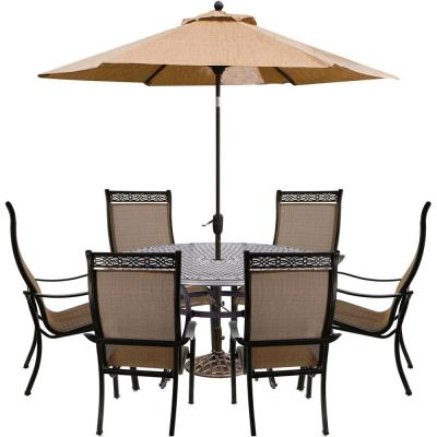 Manor 7-Piece Aluminum Outdoor Dining Set with 6 Dining Chairs, Cast-Top Dining Table, Table Umbrella and Stand