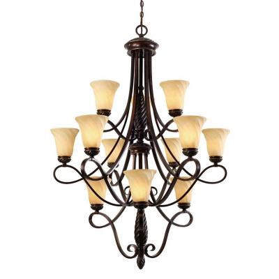 Laurent Collection 12-Light Cordoban Bronze 3-Tier Chandelier