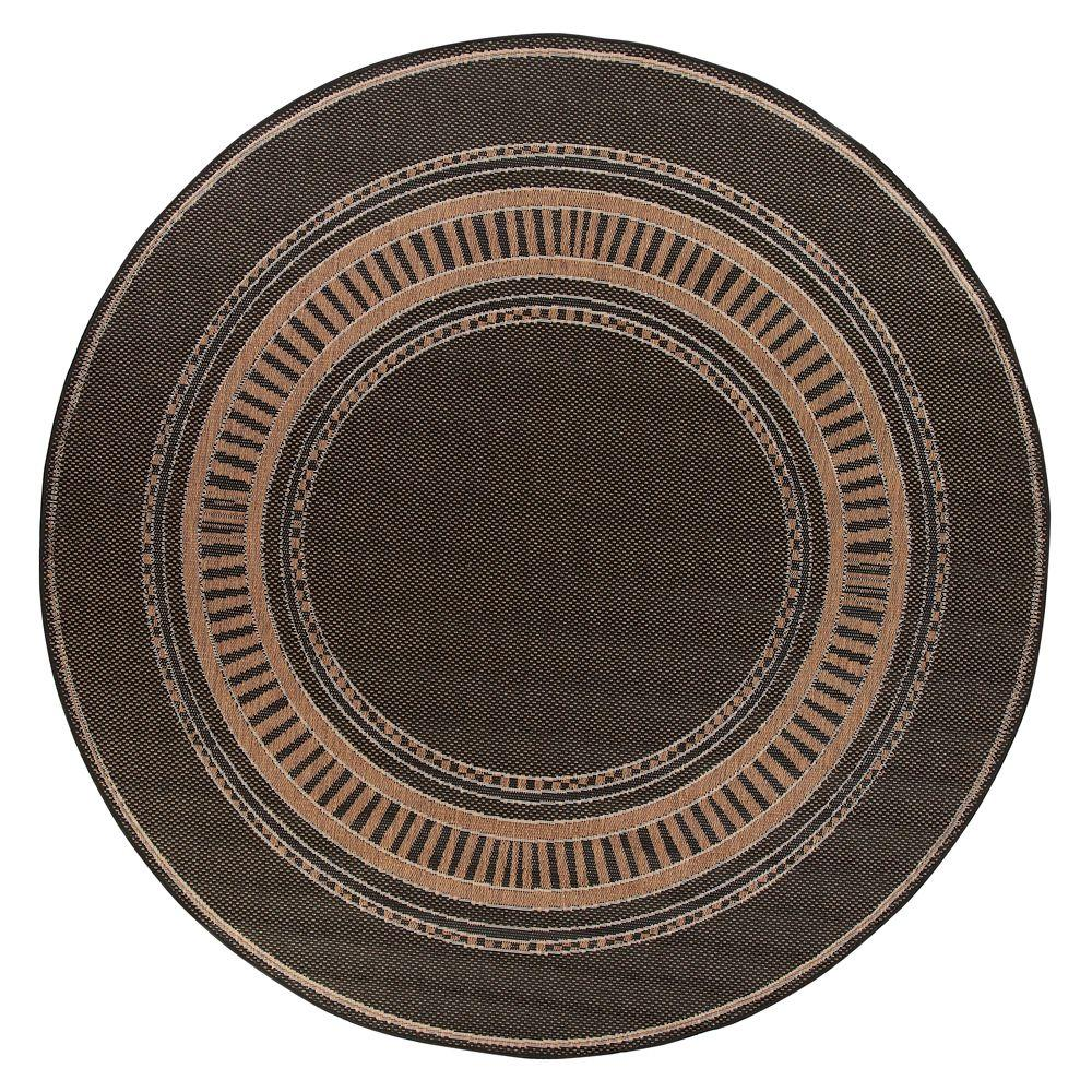Pueblo Design Black/Cocoa 8 ft. 6 in. Round Area Rug