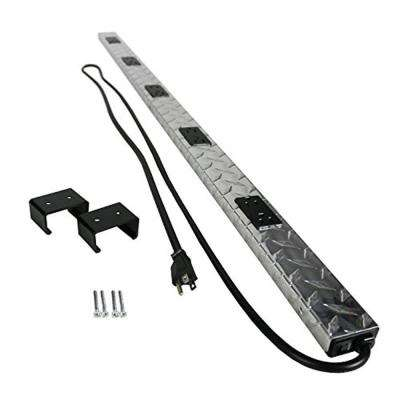 Plugmold Tough 4 ft. 10-Outlet Power Strip with Circuit Breaker, Diamond Plate