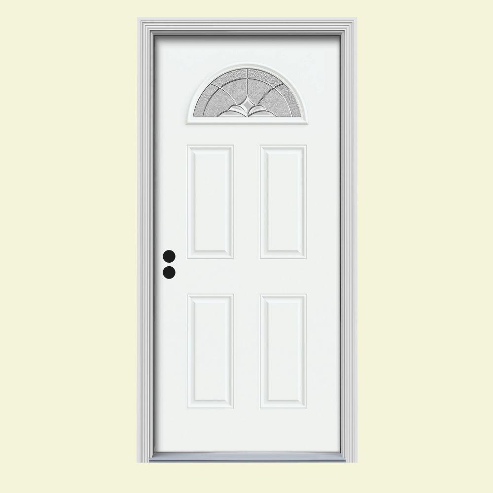 Jeld wen 30 in x 80 in fan lite langford white painted steel prehung left hand inswing front 30 exterior door with glass