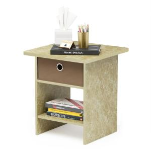 Furinno Home Living Brown Marble End Table Night Stand