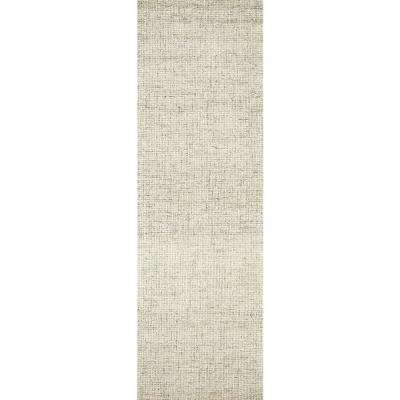 """London Collection Beige 100% Wool 2'6"""" x 8' Hand-Tufted Solid Area Rug"""