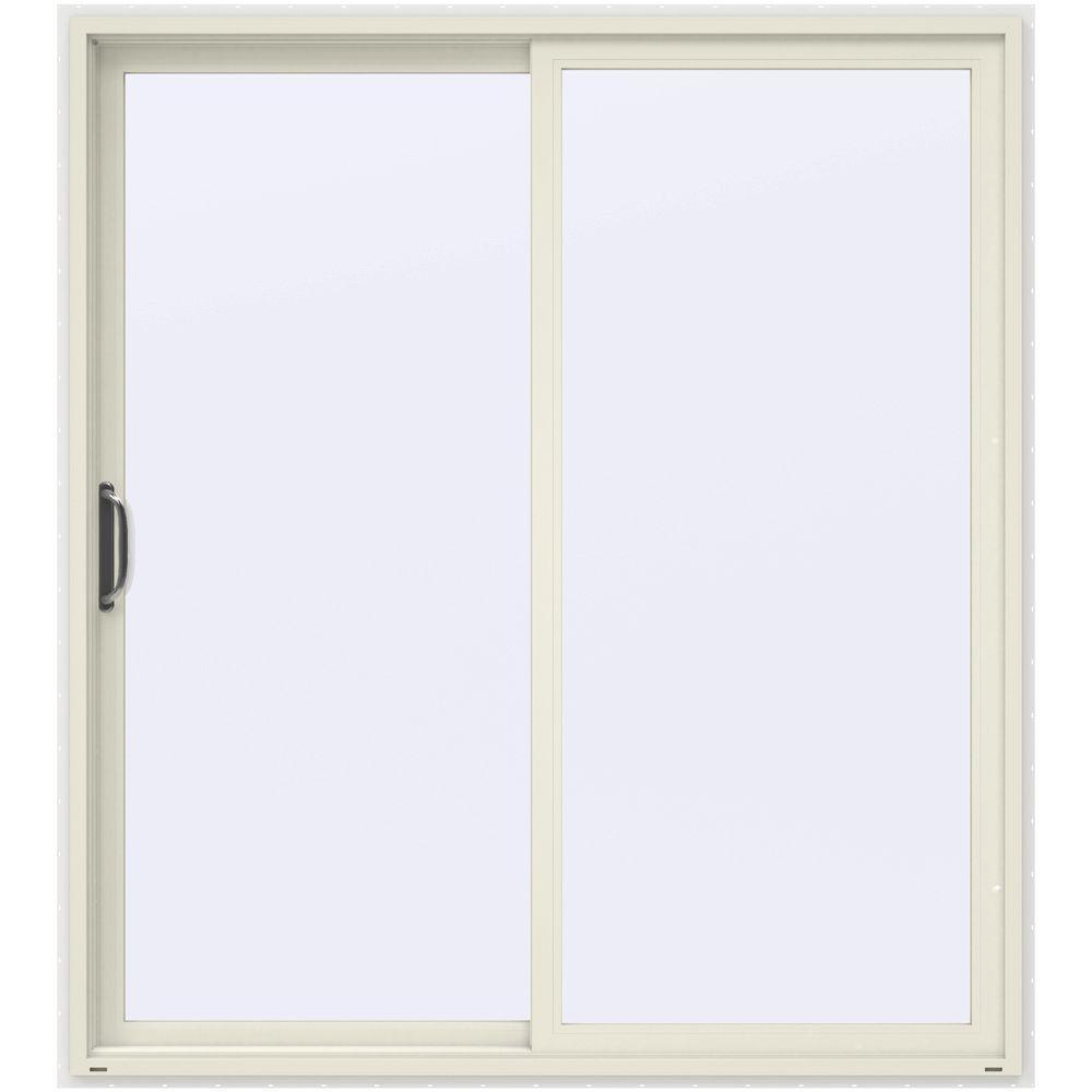 JELD WEN 72 In. X 80 In. V 4500 French Vanilla Prehung Left Hand Sliding  1 Lite Vinyl Patio Door With White Interior THDJW155900301   The Home Depot