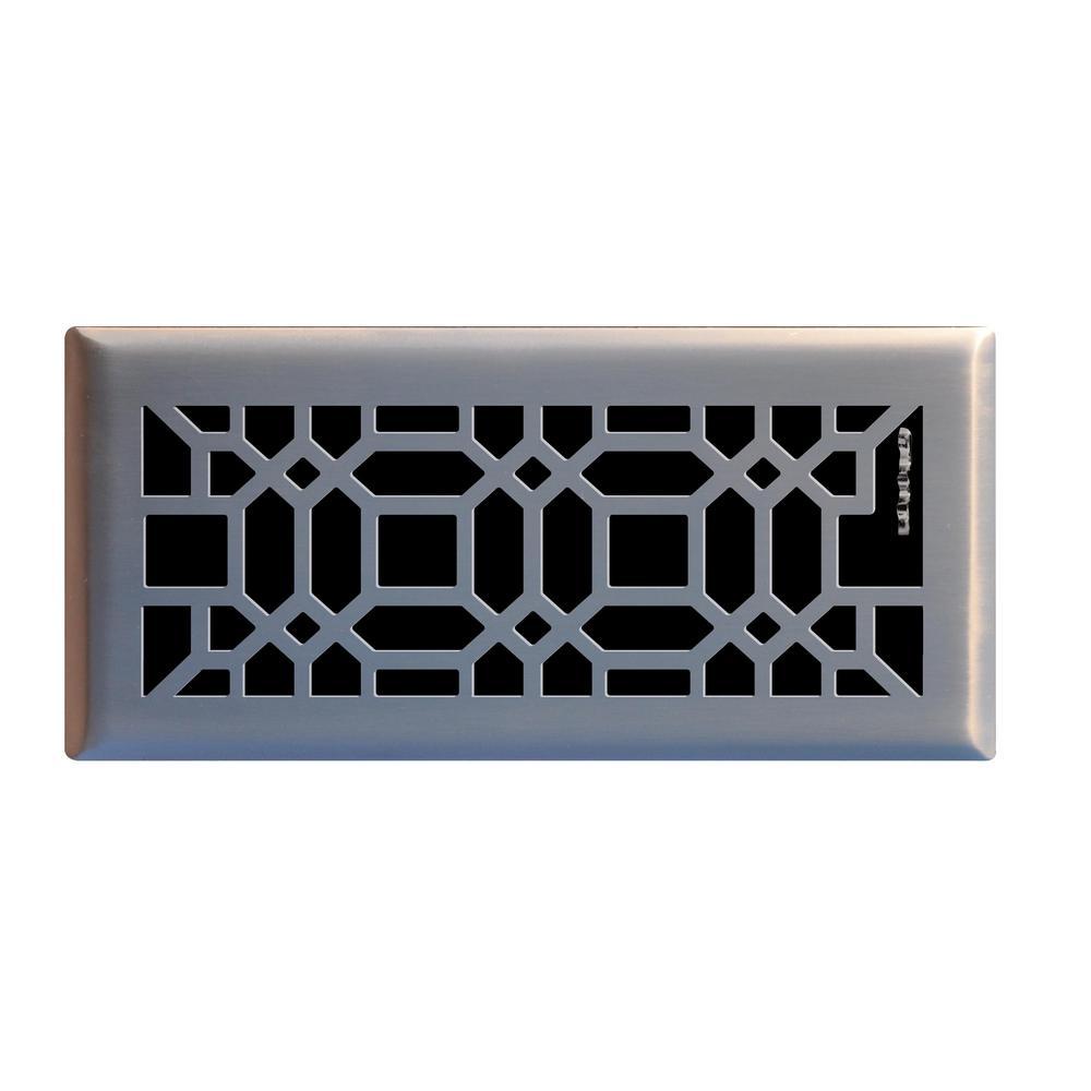 Oriental 4 in. x 10 in. Steel Floor Register in Brushed Nickel