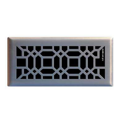 4 in. x 10 in. Oriental Floor Register in Brushed Nickel