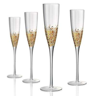 6 oz. Champagne Flute with a Gold and Silver Confetti Decoration (Set of 4)