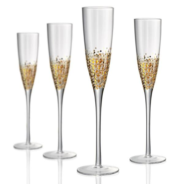 8386b02b4725 undefined 6 oz. Champagne Flute with a Gold and Silver Confetti Decoration ( Set of