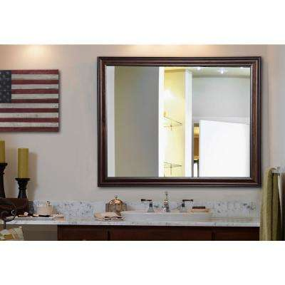 35 in. x 23 in. American Walnut Non Beveled Vanity Wall Mirror