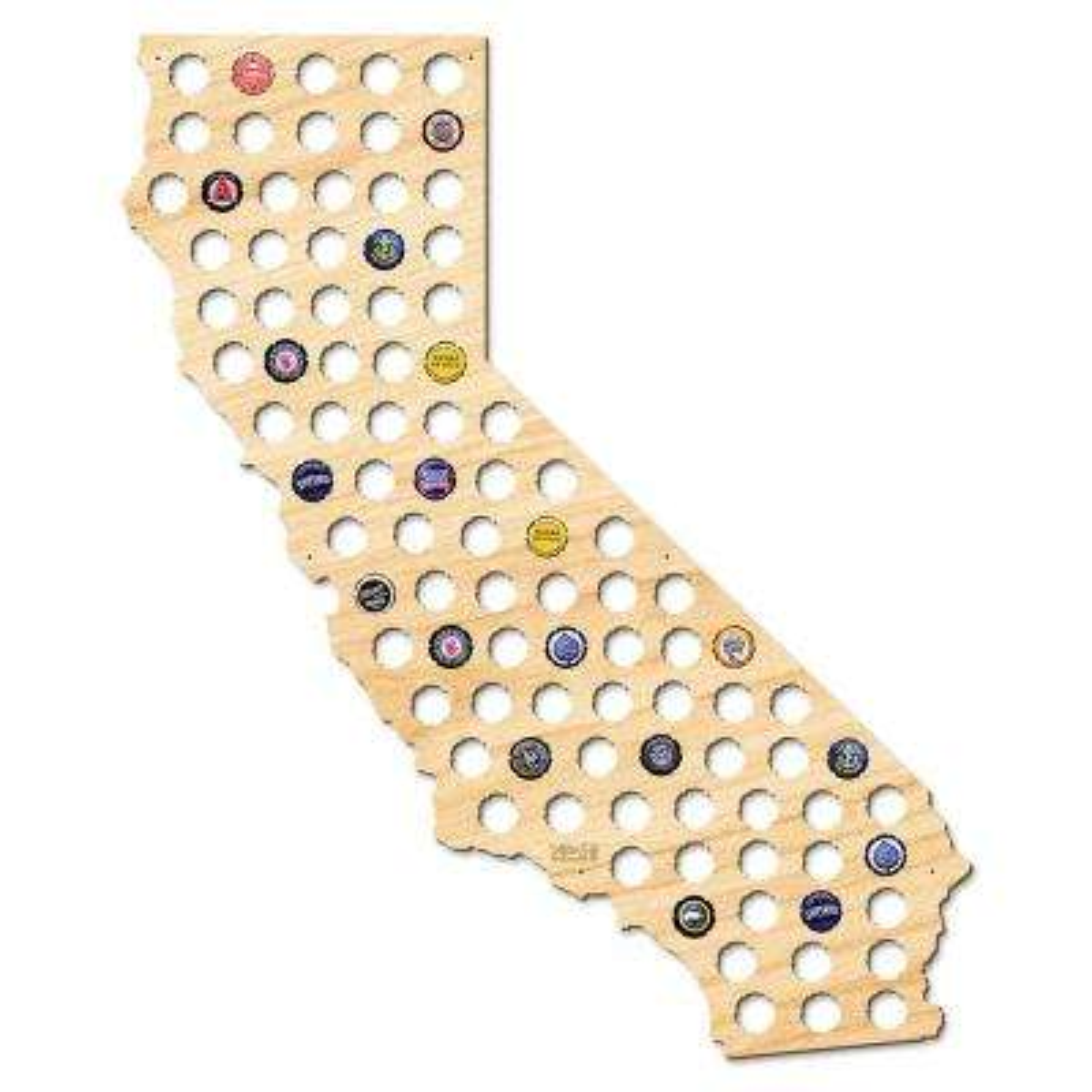29 in. x 24 in. Giant XL California Beer Cap Map